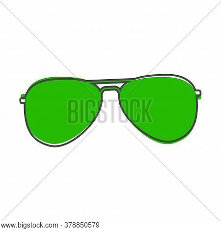 Aviators Glasses Vector Icon. Pilot Glasses. Sunglasses Protect From The Sun Cartoon Style On White