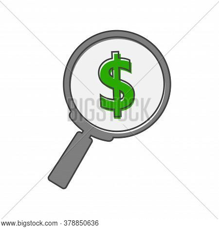 Searching Magnifier Glass Dollar. Money Vector Cartoon Style On White Isolated Background.