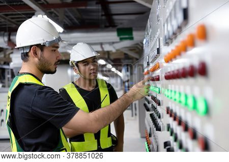 Electrical Engineer Team Working Front Hvac Control Panels, Technician Daily Check Controls System F