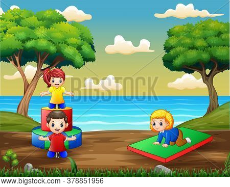 Cartoon Children Having Fun At Playground Illustration