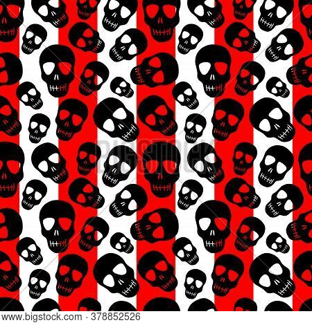 A Skull Pattern On A Red-and-white Striped Background.seamless Pattern With Black Skulls.design For