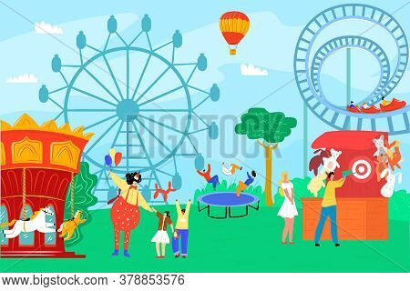 Amusement Park With Fun Clown, Vector Illustration. Carnival And Circus At Festival, Entertainment W