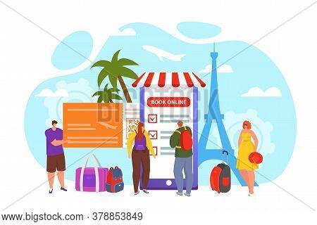Travel Online Mobile App Reservation, Vector Illustration. Web Hotel Tourism Book Concept Technology