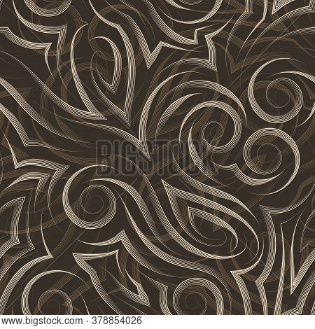 Vector Beige Seamless Pattern Drawn With A Pen Or Liner For Decoration On A Brown Background.smooth