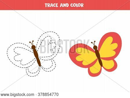 Tracing And Coloring Cute Colorful Butterfly. Writing Practice.