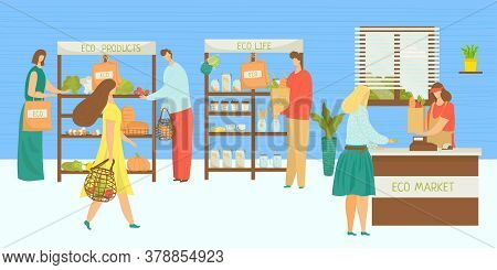 Eco Market, People At Organic Store Vector Illustration. Cartoon Fruit Food Retail Sale In Grocery,