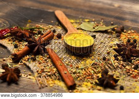 Cuisine And Flavouring Concept. Composition Of Condiment