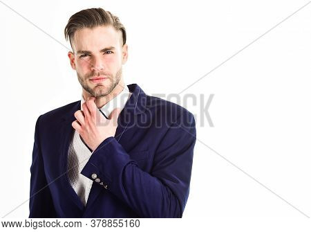 Man In Classic Suit Or Businessman Feels Uncomfortable With Collar