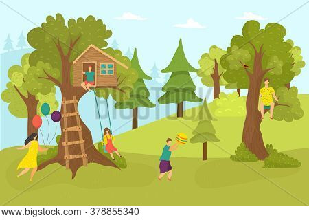 House Tree In Forest, Cartoon Childhood Vector Illustration. Home At Green Nature, Happy Girl Boy Ne