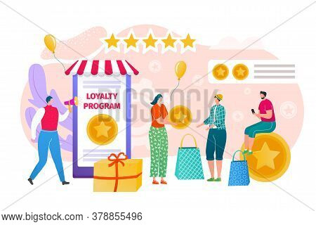 Loyalty Program For Promotion Concept, Vector Illustration. Marketing For Flat Customer Character, C