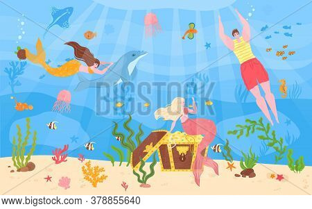 Man With Woman Mermaid In Sea, Vector Illustration. Underwater Character With Tail Swimming, Fantasy