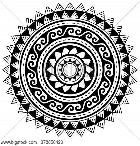 Polynesian Geometric Mandala Vector Pattern, Hawaiian Tribal Design In Black And White