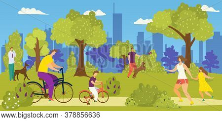 People In Park, Lifestyle Leisure Vector Illustration. Woman Man At Cartoon Outdoor Path, Young Urba