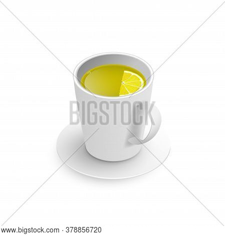 Realistic 3d Cup Of Hot Aromatic Freshly Brewed Drink Green Tea With Lemon. A Teacup Isometric View