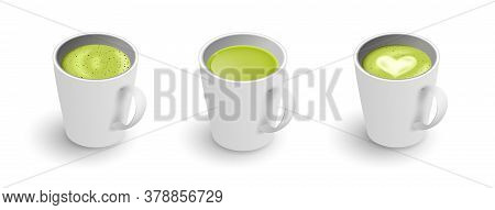 Realistic 3d Cup Of Hot Aromatic Green Japanese Tea Matcha Latte Drink Set. A Teacup Isometric View