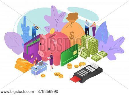 Money In Business Concept, Finance Profit Vector Illustration. Success People Cash Investment, Finan