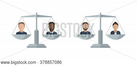 Gender Equality And Race Equality Concept - Libra Scales With Different Gender And Nationality Peopl