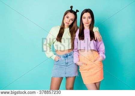 Photo Of Two Cool Sisters Ladies Friends Youth Look Outfit Hugging Self-confident Girls Wear Cropped
