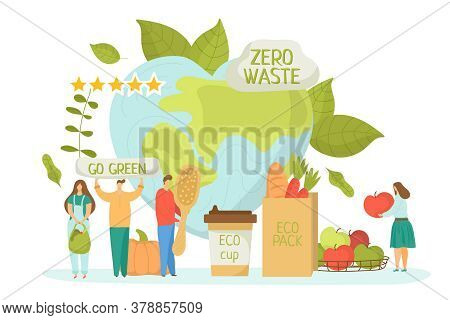 Zero Waste For Ecology Environment, Green Recycle Concept Vector Illustration. Save Earth Planet, Fl