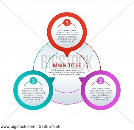 3 Steps Infographics (three Points) With Colorful Pin Circles In Symmetric Composition And With Samp