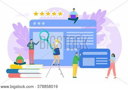 Business Content For Flat Internet Marketing Concept, Vector Illustration. Teamwork At Digital Media