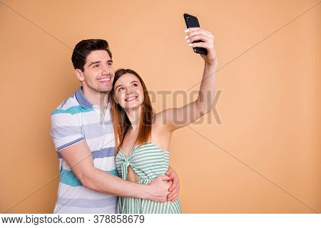 Portrait Of His He Her She Nice Attractive Lovely Charming Tender Cheerful Cheery Couple Friends Fri