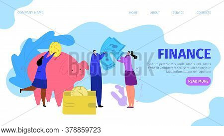 Business Finance Money Investment Concept, Vector Illustration. Coin Cash In Bank, Financial Economy
