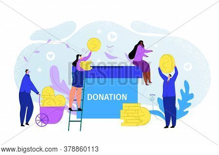 Charity Money Donate Concept, Flat Donation Help Vector Illustration. People Character Give Communit