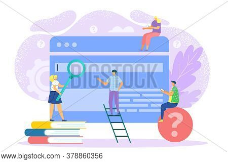 Search In Flat Internet, Vector Illustration. Web Seo Business Technology, Man Woman Near Computer G
