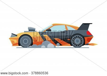 Black And Orange Sport Racing Car, Side View, Fast Motor Racing Bolid Vector Illustration
