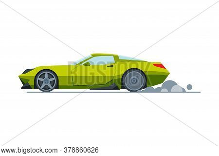 Green Sport Racing Car, Side View, Fast Motor Racing Bolid Vector Illustration
