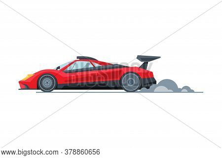 Red Sport Racing Car, Side View, Fast Motor Racing Bolid Vector Illustration
