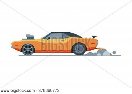 Orange Sport Racing Car, Side View, Retro Fast Motor Racing Vehicle Vector Illustration