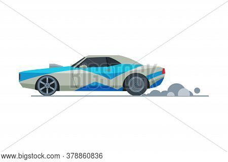 Sport Racing Car, Side View, Retro Fast Motor Racing Vehicle Vector Illustration