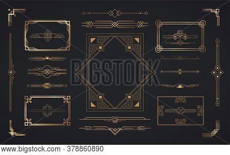 Set of Art Deco elements. Vector elements of geometric golden label frame, gold frames, vintage antique elegant design set.
