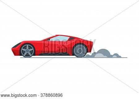 Red Sport Racing Car, Side View, Fast Motor Racing Vehicle Vector Illustration