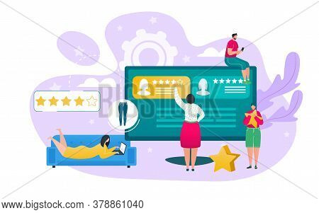 Customer Feedback And Service Rating Concept Vector Illustration. People Character Rate And Review O
