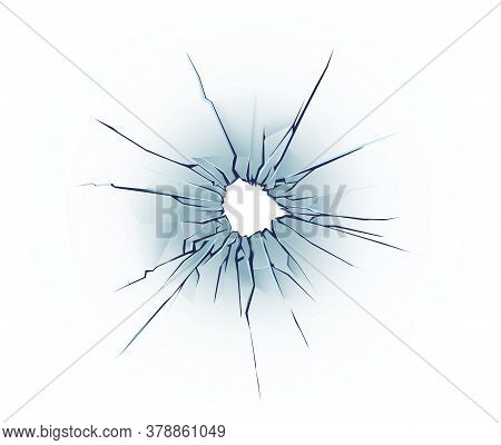 Bullet hole on the glass. Cracked window texture realistic destruction hole. vector illustration