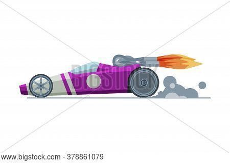 Modern Sport Racing Car, Side View, Fast Motor Racing Bolid Vector Illustration