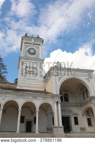 Clock Tower In Italian Udine City In The Main Square Called Piazza Liberta