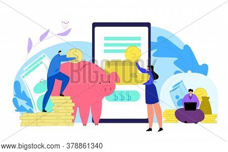Finance Money Saving And Smartphone Bank Concept Vector Illustration. Flat Financial Mobile Banking,