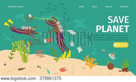 Plastic Ocean Pollution, Save Sea Planet Website Vector Illustration. Ecology Garbage Bottle, People