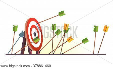 Many Arrows Missed Hitting Target Mark. Shot Miss