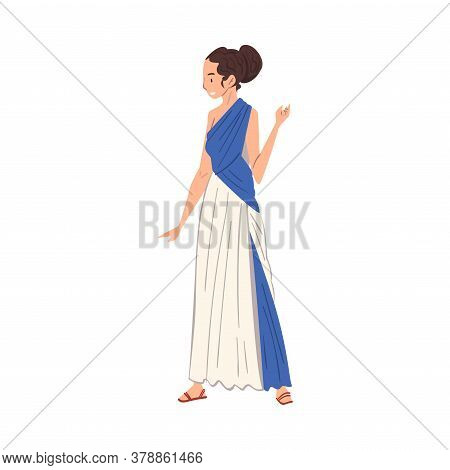 Beautiful Roman Woman In Traditional Clothes, Ancient Rome Citizen Character In Tunic And Sandals Ve