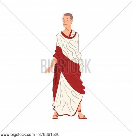 Roman Man In Traditional Clothes, Ancient Rome Citizen Character In White And Red Tunic And Sandals