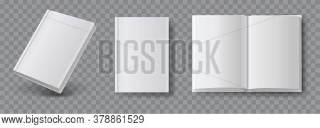 Blank Book Mockup. Set Of Book Template In Different Views Isolated On Transparent Background. Reali