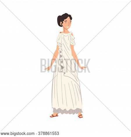 Roman Woman In Traditional Clothes, Ancient Rome Citizen Character In White Tunic And Sandals Vector