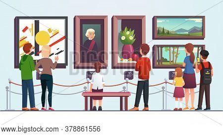 Art Gallery Visitors People Man, Woman And Kid