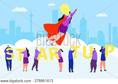 Business Startup Concept, Man Woman Success Work People Vector Illustration. Flat Hero Leader Charac