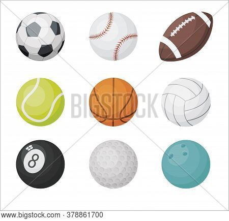 Cartoon Balls Vector Set. Sport Balls Icons: Volleyball, Basketball, Football, Golf, American Footba